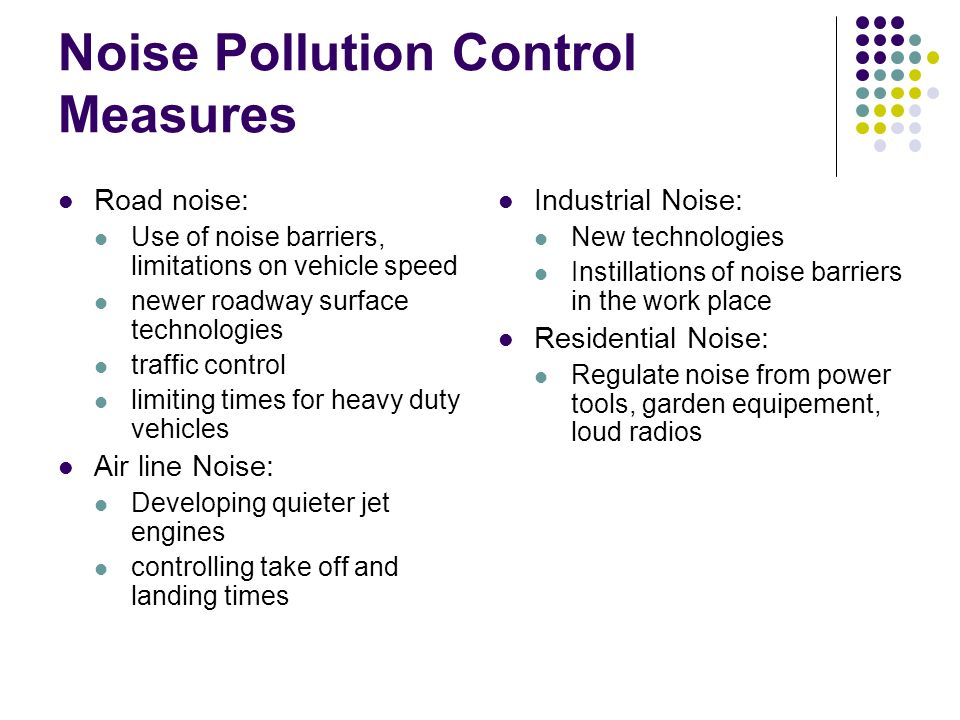 Controlling noise pollution