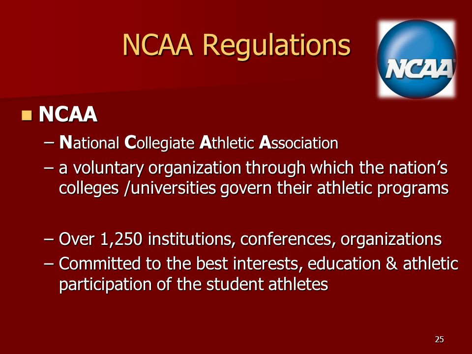 national collegiate athletic association The national collegiate athletic association (ncaa) is a non-profit association which regulates athletes of 1,281 institutions conferences organizations and individuals it also organizes the athletic programs of many colleges and universities in the united states and canada, and helps more than 450,000 college student-athletes who compete.
