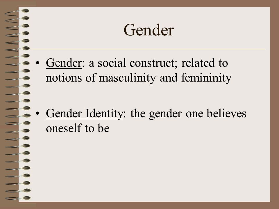 femininity and masculinity as single identities' Of their masculinity and identity in chapter one, i wish to look at the concept of  gender within sociology and specifically, i wish to examine how the dual  concepts.