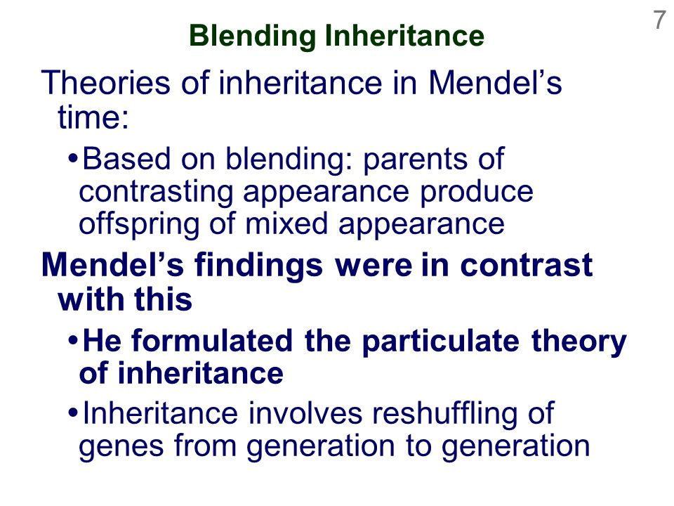 Theories of inheritance in Mendel's time: