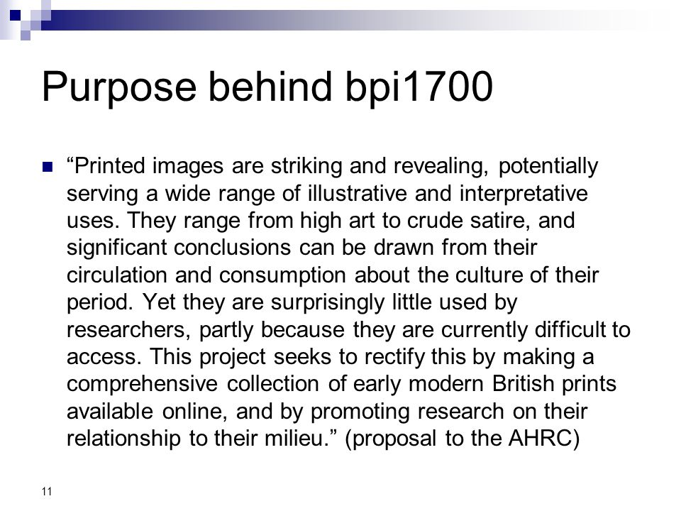 Purpose behind bpi1700