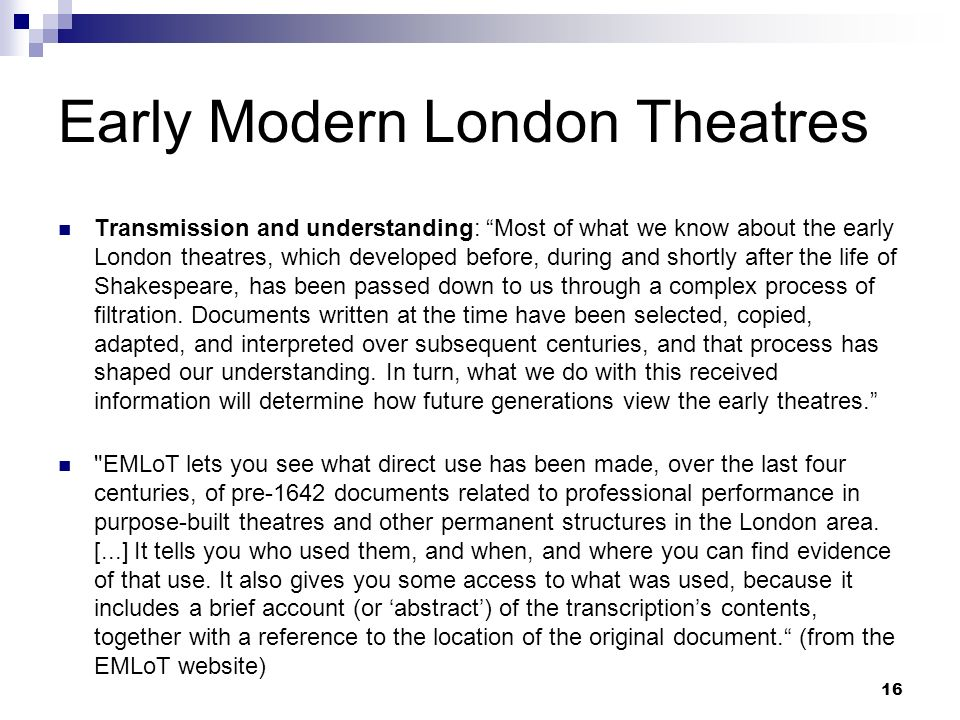Early Modern London Theatres