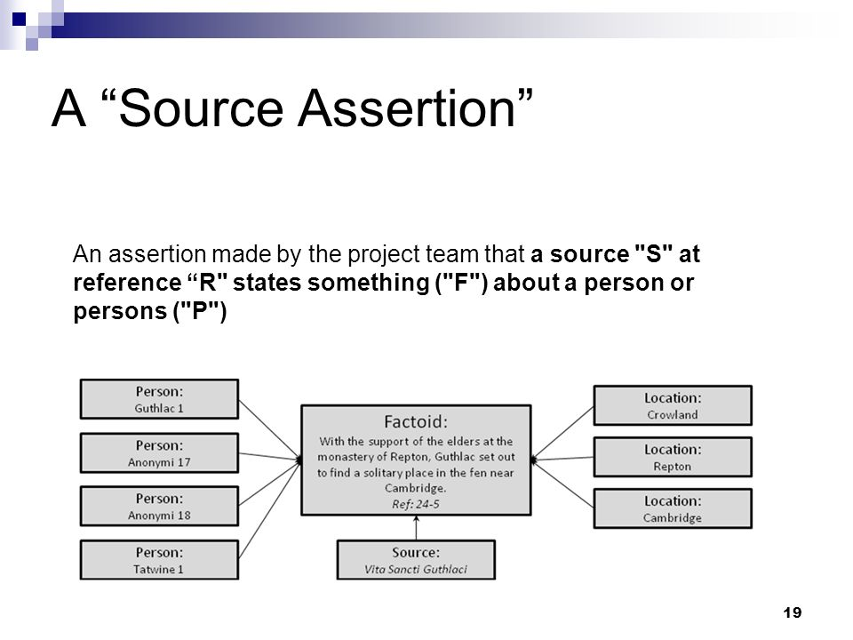 A Source Assertion An assertion made by the project team that a source S at reference R states something ( F ) about a person or persons ( P )