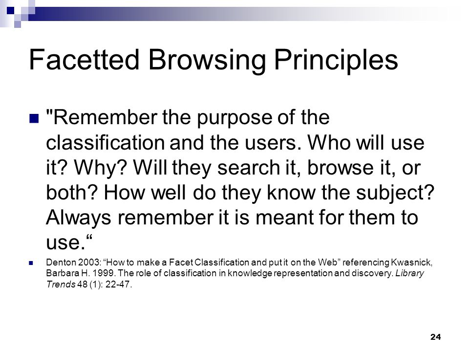 Facetted Browsing Principles