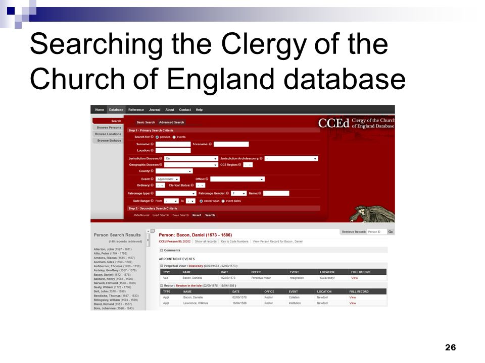 Searching the Clergy of the Church of England database