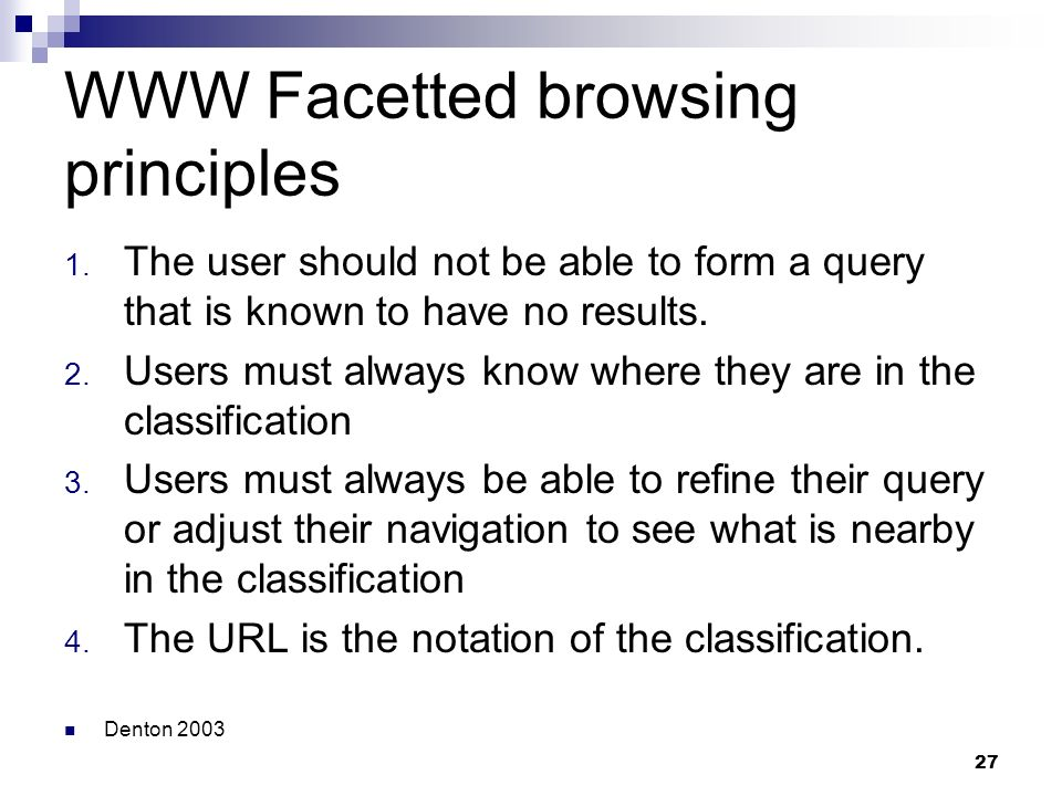 WWW Facetted browsing principles