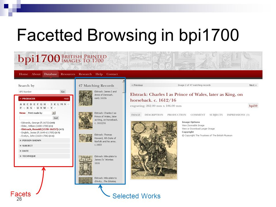 Facetted Browsing in bpi1700