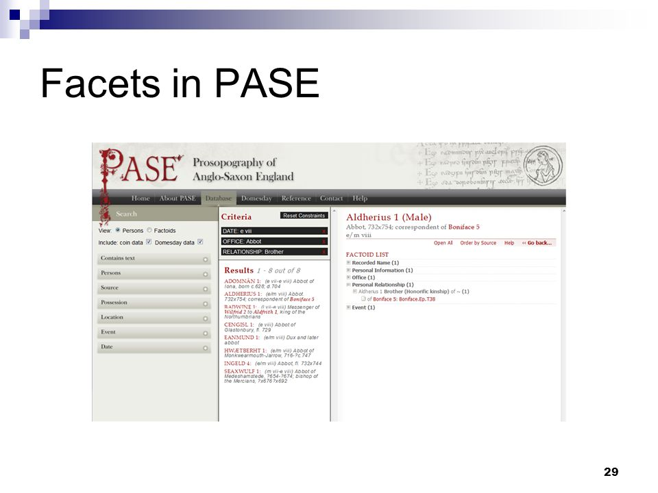 Facets in PASE