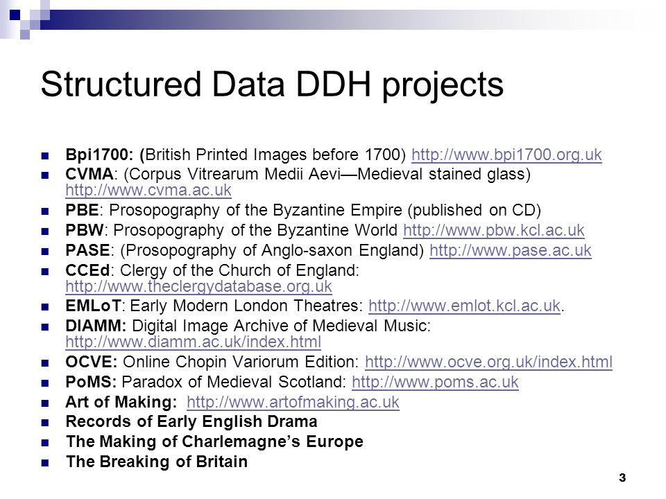 Structured Data DDH projects