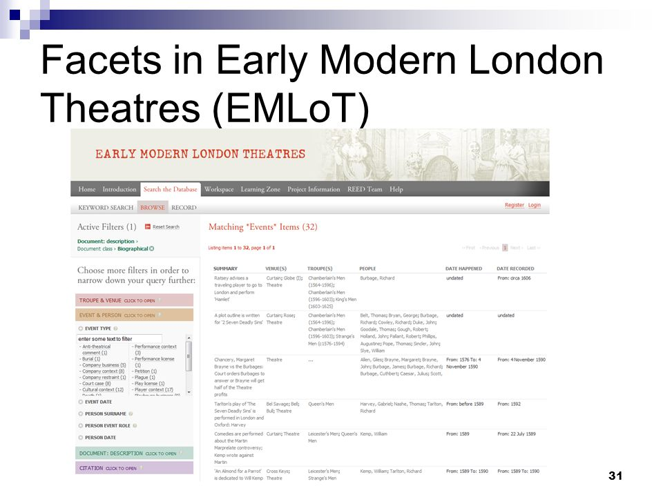 Facets in Early Modern London Theatres (EMLoT)