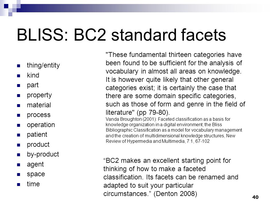 BLISS: BC2 standard facets