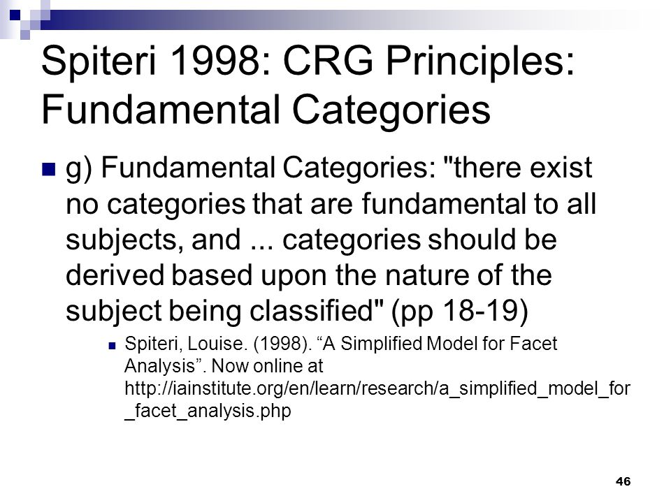 Spiteri 1998: CRG Principles: Fundamental Categories