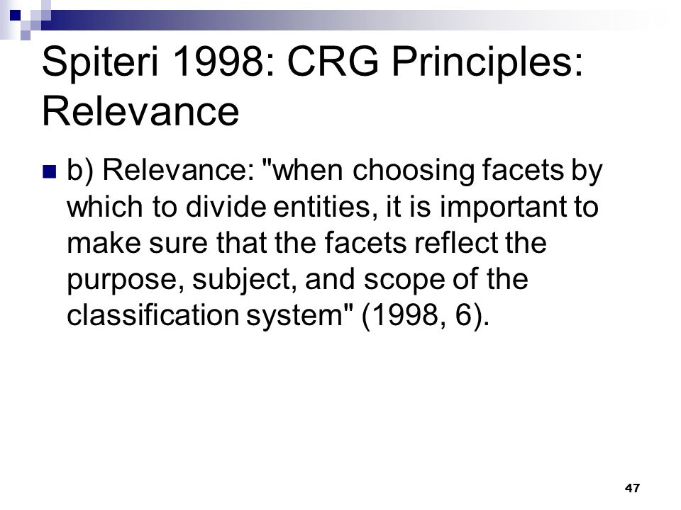Spiteri 1998: CRG Principles: Relevance