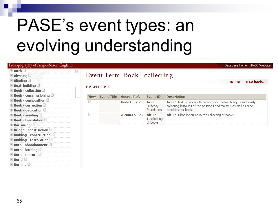 PASE's event types: an evolving understanding