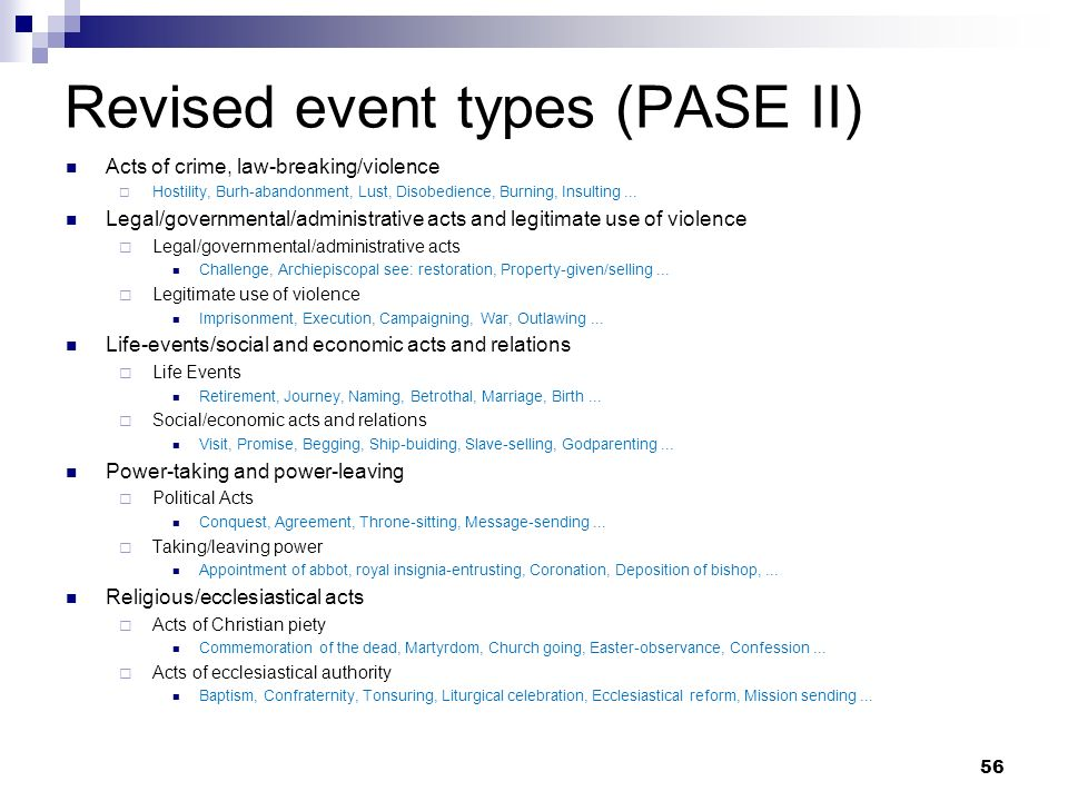 Revised event types (PASE II)