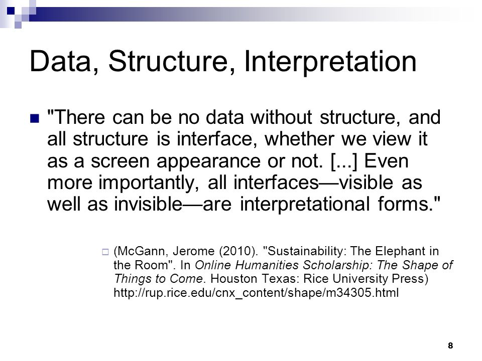 Data, Structure, Interpretation