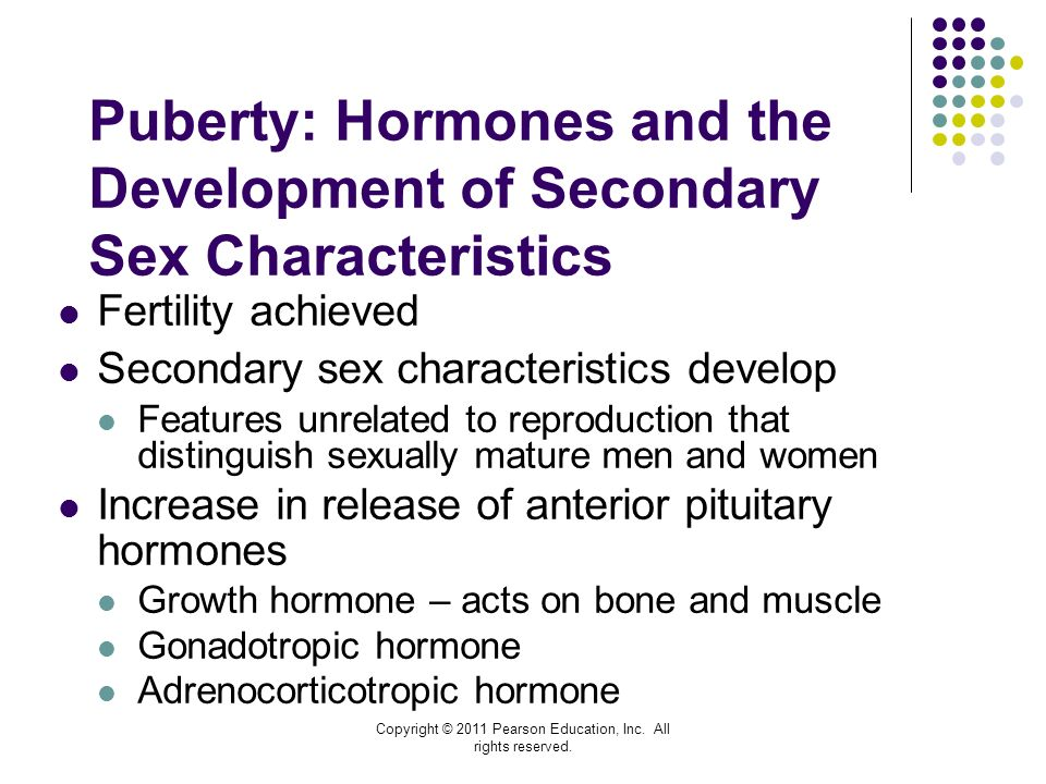 puberty and secondary sex characteristics Testosterone physiological effects secondary sexual characteristics mediated by testosterone include deepening of the voice and growth of during puberty.