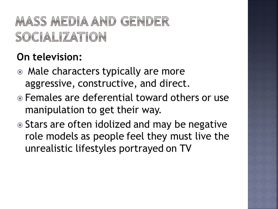 Mass Media and Gender Socialization