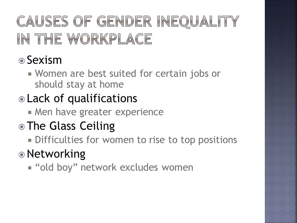 Causes of Gender Inequality in the Workplace