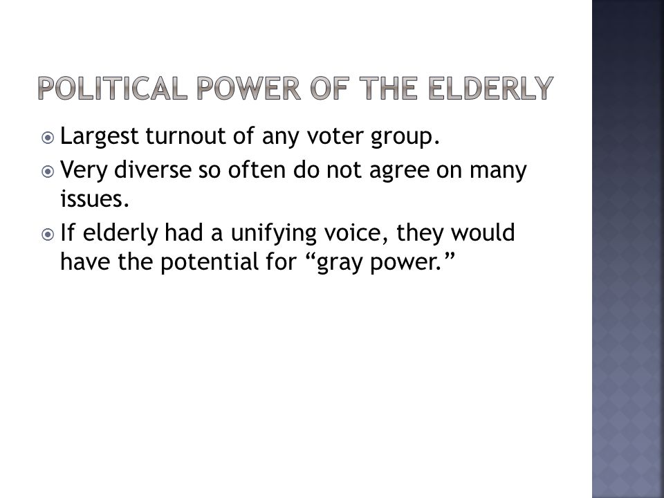 Political power of the elderly