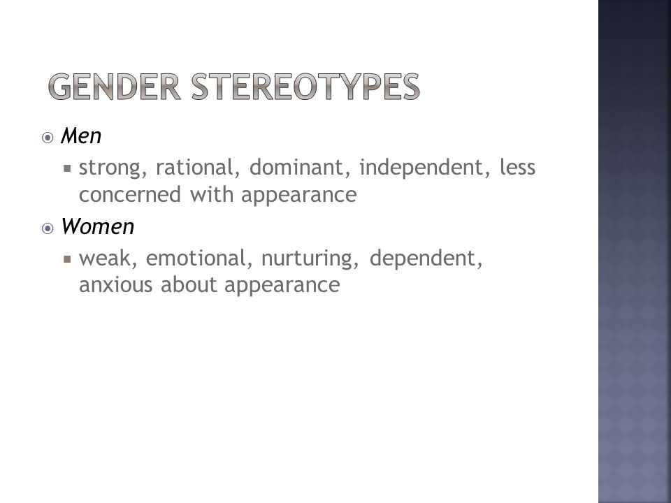 Gender Stereotypes Men