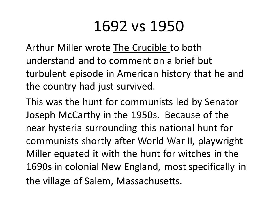 an analysis of the unholy puritans portrayed in the crucible a play by arthur miller Arthur miller and the crucible study  how does this tie into our play most of his accusations were false, just like the salem witch trials  english puritans.