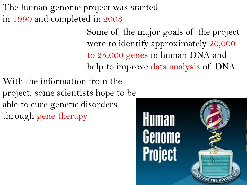 The human genome project was started in 1990 and completed in 2003