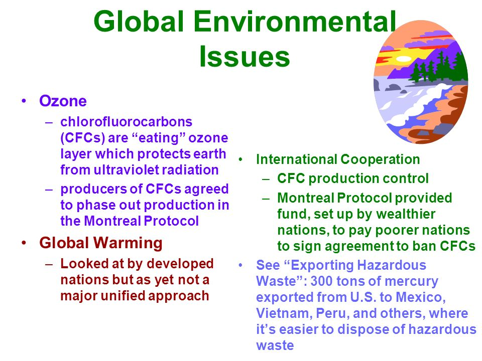 the global ecological problems and the To global environmental issues 2  global warming loss of bio-diversity  major environmental problems caused by.
