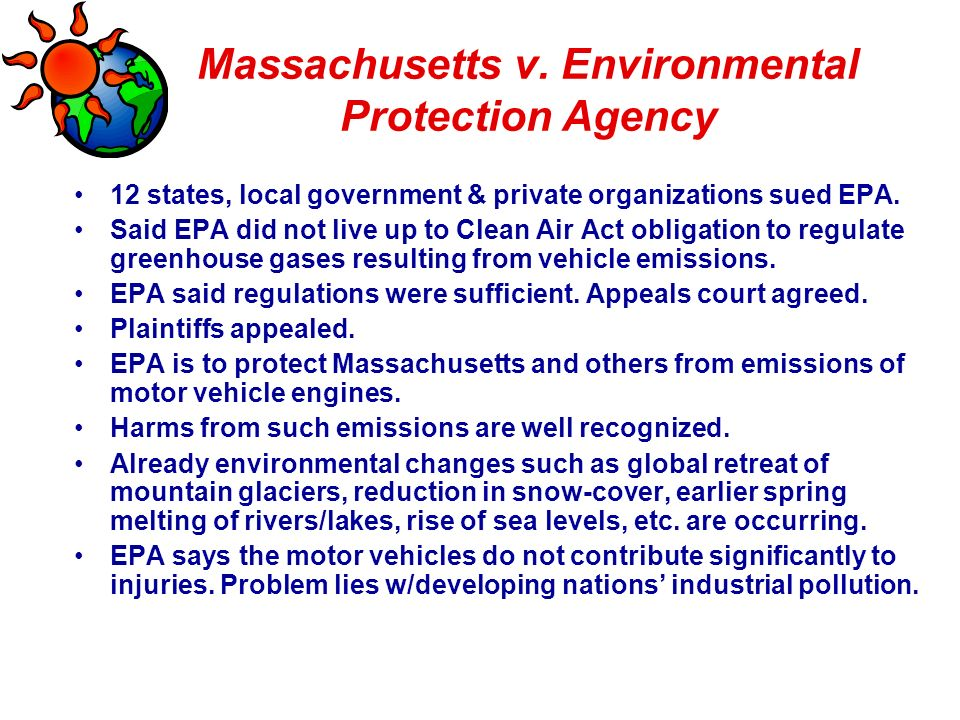 Regulations established by the environmental protection agency