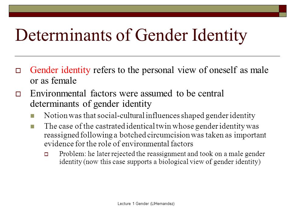 how does gender influence our identity