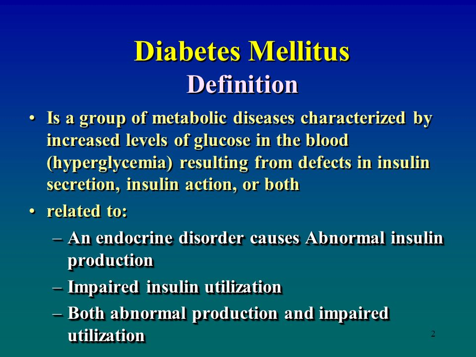 a medial description of the diabetes disease Diabetes is a common group of chronic metabolic diseases that cause high blood sugar (glucose) levels in the body due to defects in insulin production and/or function insulin is a hormone.