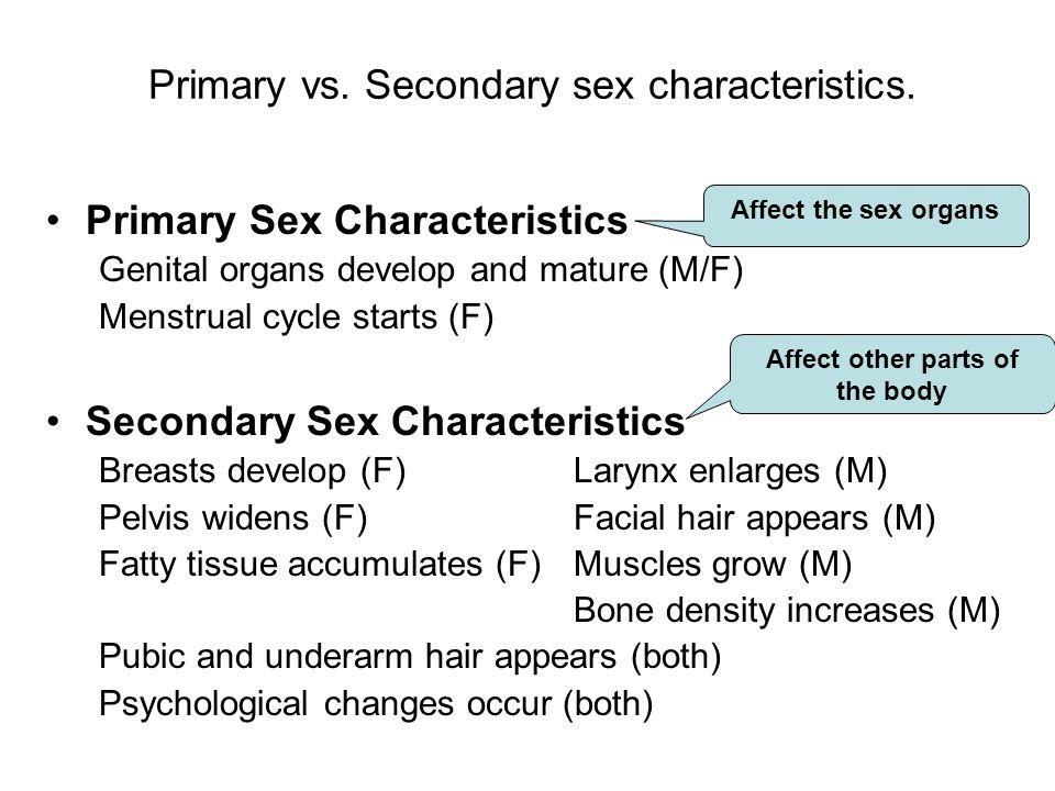 Primary vs. Secondary sex characteristics.