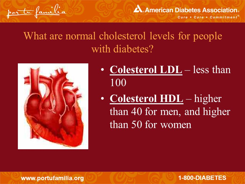 What are normal cholesterol levels for people with diabetes