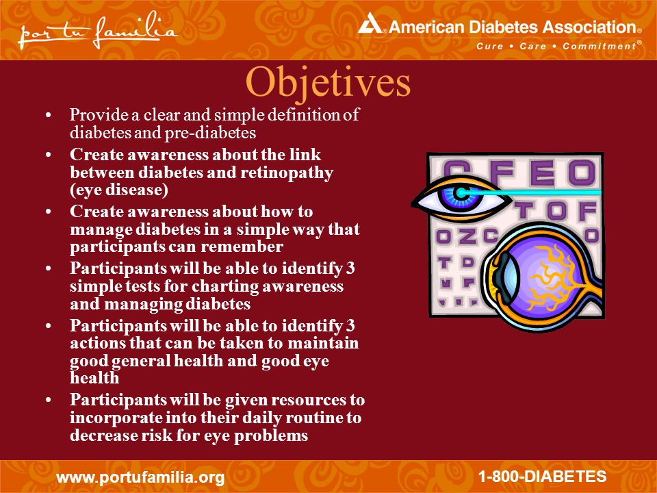 Objetives Provide a clear and simple definition of diabetes and pre-diabetes.