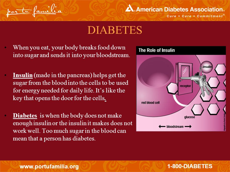DIABETES When you eat, your body breaks food down into sugar and sends it into your bloodstream.