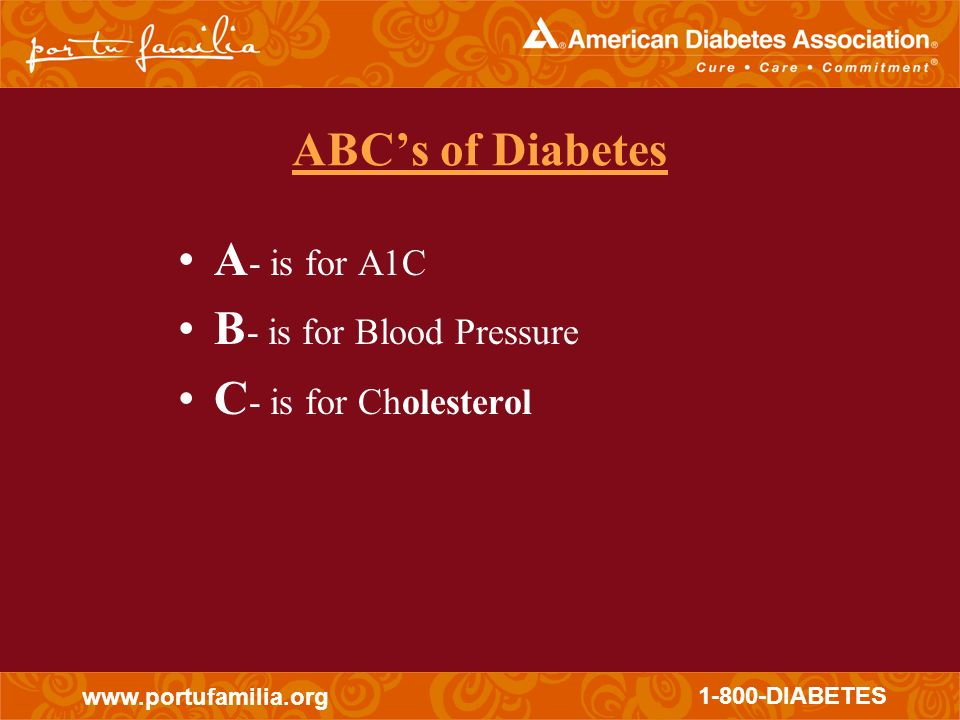 ABC's of Diabetes A- is for A1C B- is for Blood Pressure C- is for Cholesterol