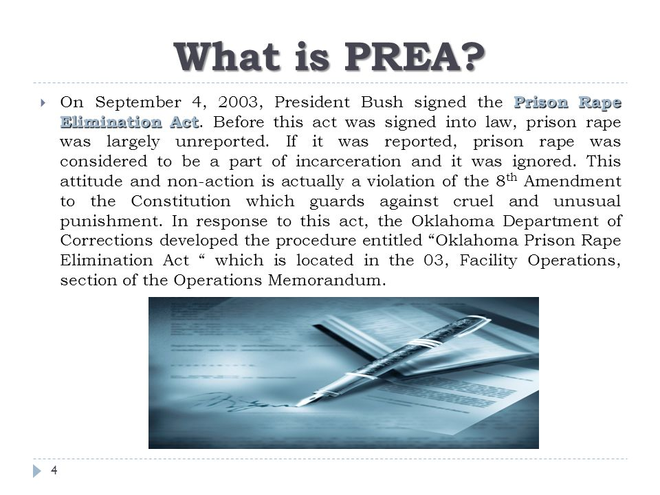 prison rape elemination act The prison rape elimination act (prea) is a set of standards designed to  eliminate sexual abuse within the confines of the criminal justice system.