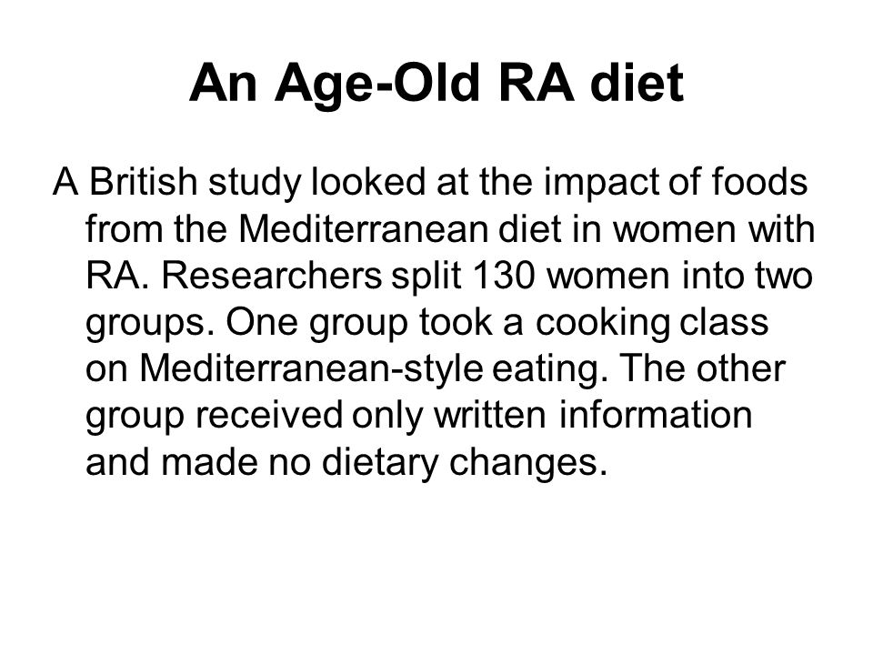 An Age-Old RA diet