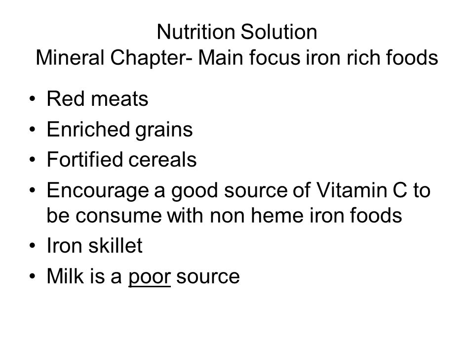 Nutrition Solution Mineral Chapter- Main focus iron rich foods