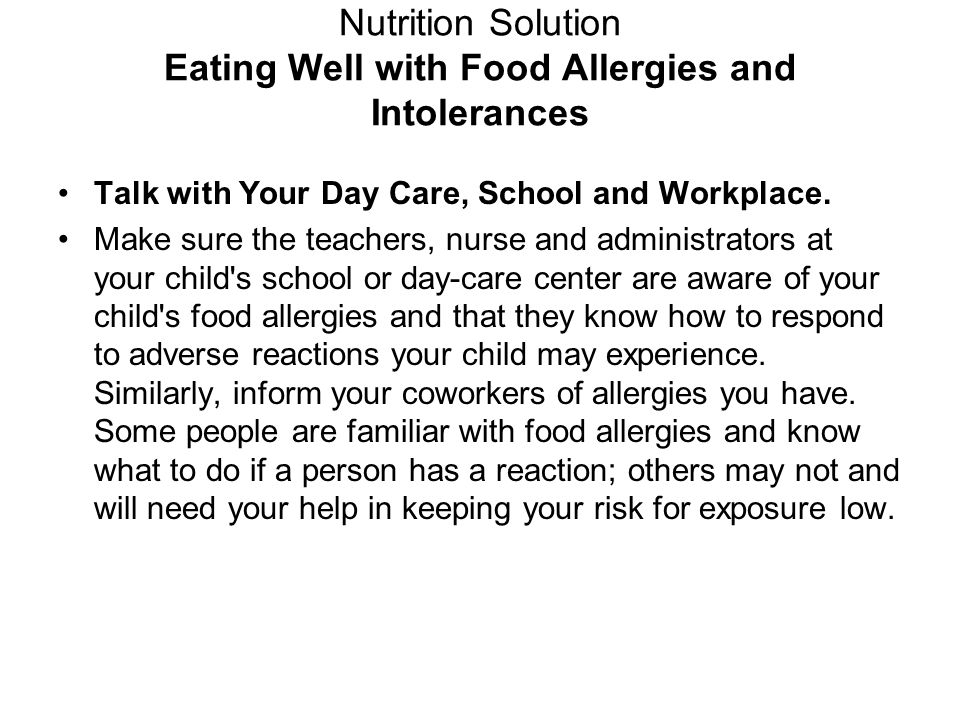 Nutrition Solution Eating Well with Food Allergies and Intolerances
