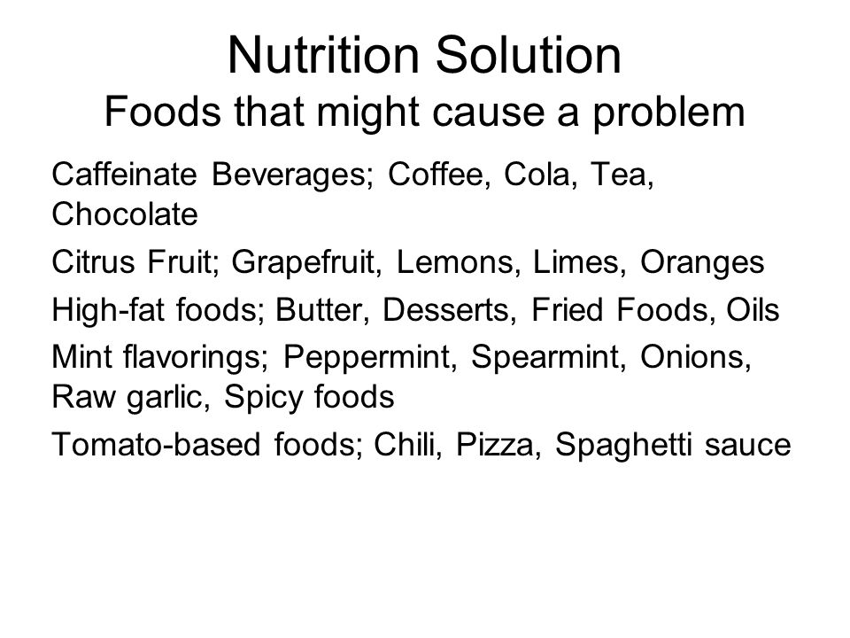 Nutrition Solution Foods that might cause a problem