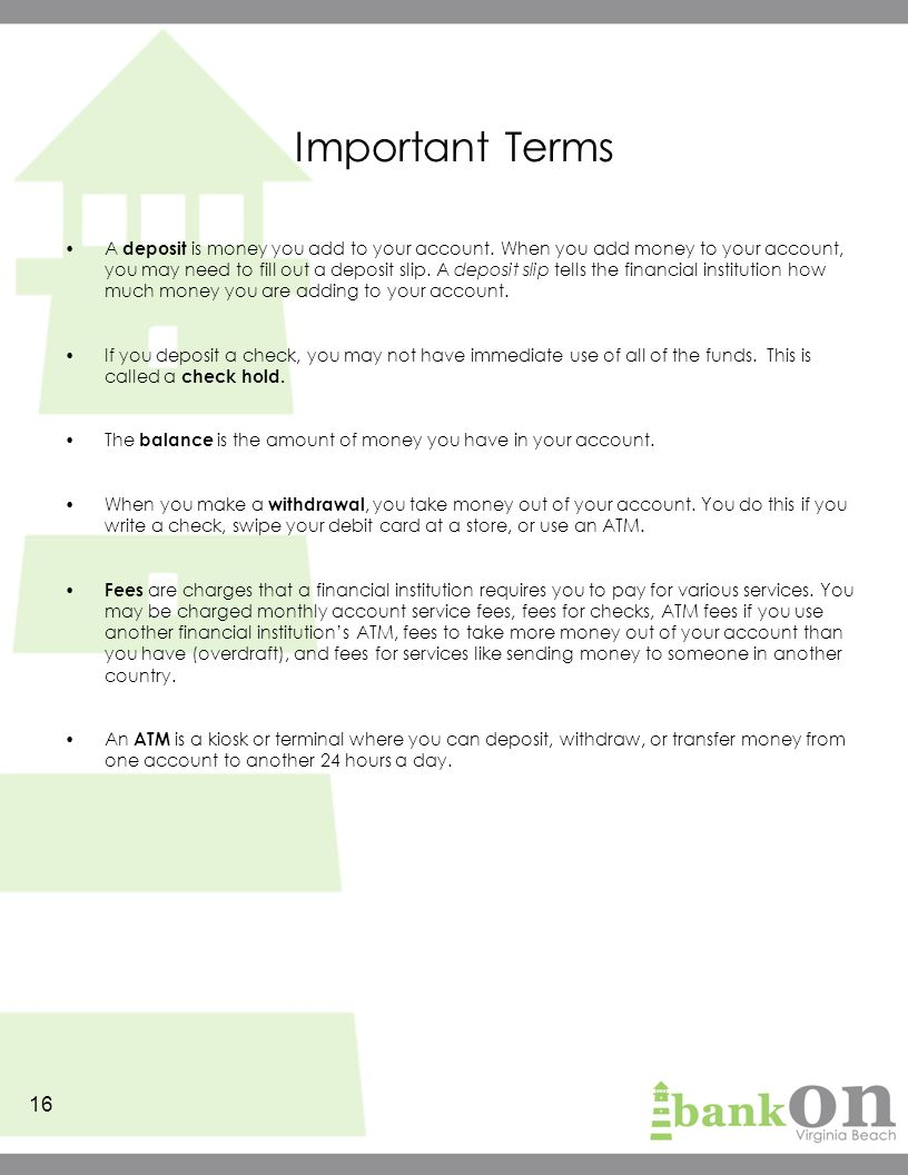 Bank on it the basics participants guide ppt download important terms ccuart Image collections