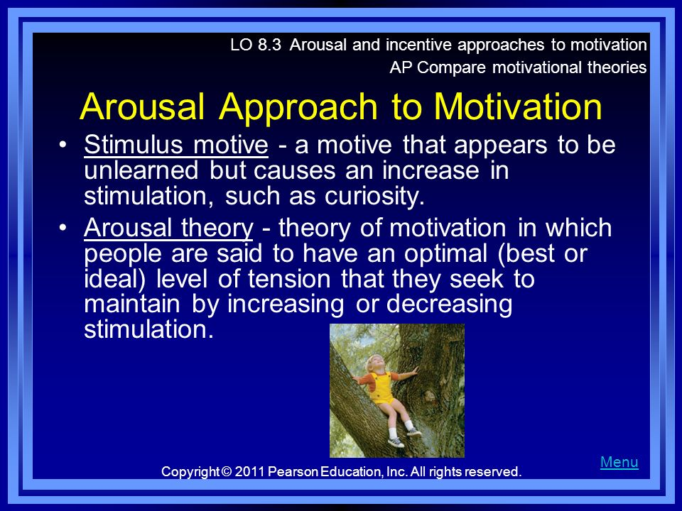 therories of arousal as related to The concept of arousal has been a major aspect of many learning theories and is closely related to other important concepts such as anxiety, attention, and motivation one of the most important findings with respect to arousal is the so-called yerkes-dodson law which predicts a u-shaped function between arousal (motivation) and performance.