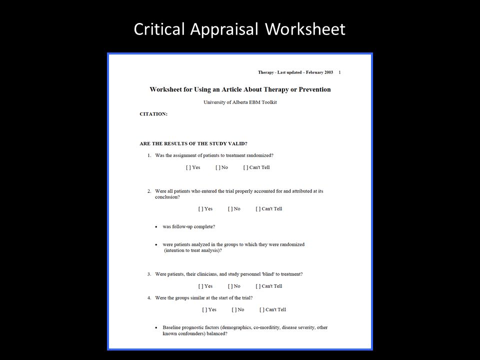 critical appraisal Centre for evidence-based medicine (oxford, uk) catmaker is a computer-assisted critical appraisal tool the full version (3mb, pc) is now free.
