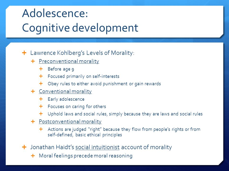 adolescent moral development Adolescent moral development morality can be defined as the distinction between what is right and wrong or what is good and bad although, moral reasoning depends on culture which makes it difficult to define.