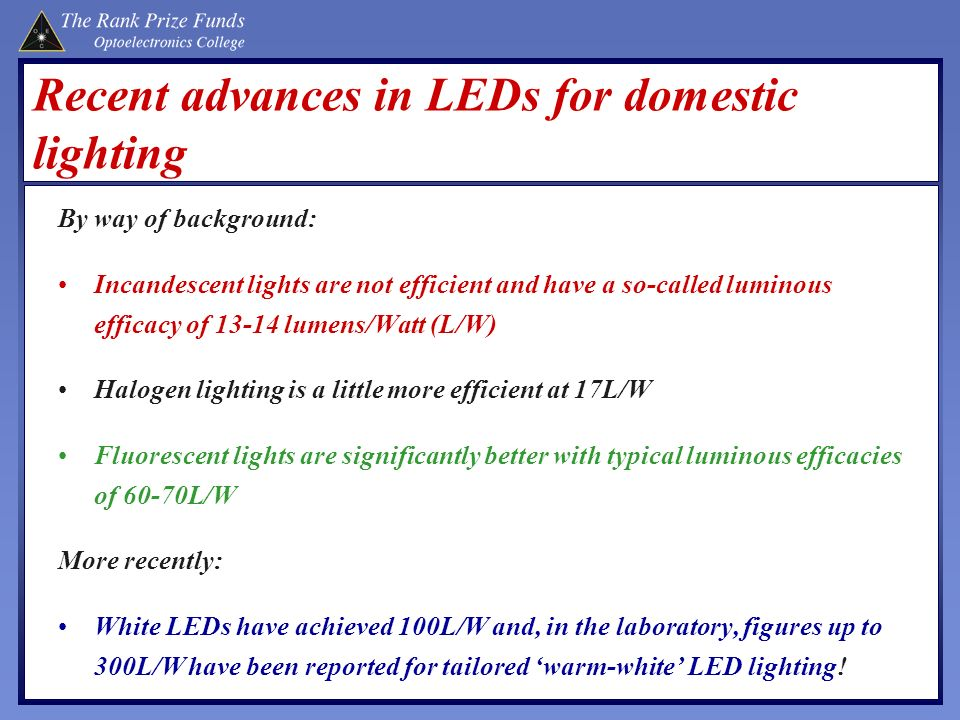 Recent advances in LEDs for domestic lighting