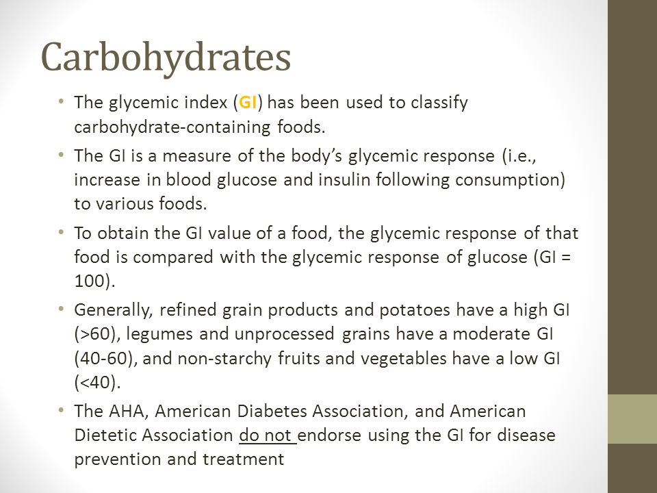 American Dietetic Association High Carbohydrate Foods