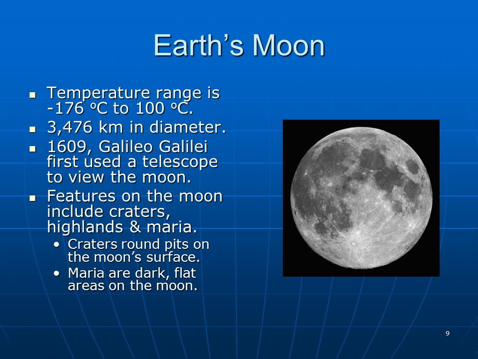 Earth moon sun astronomy ppt video online download 9 earths moon temperature range sciox Images