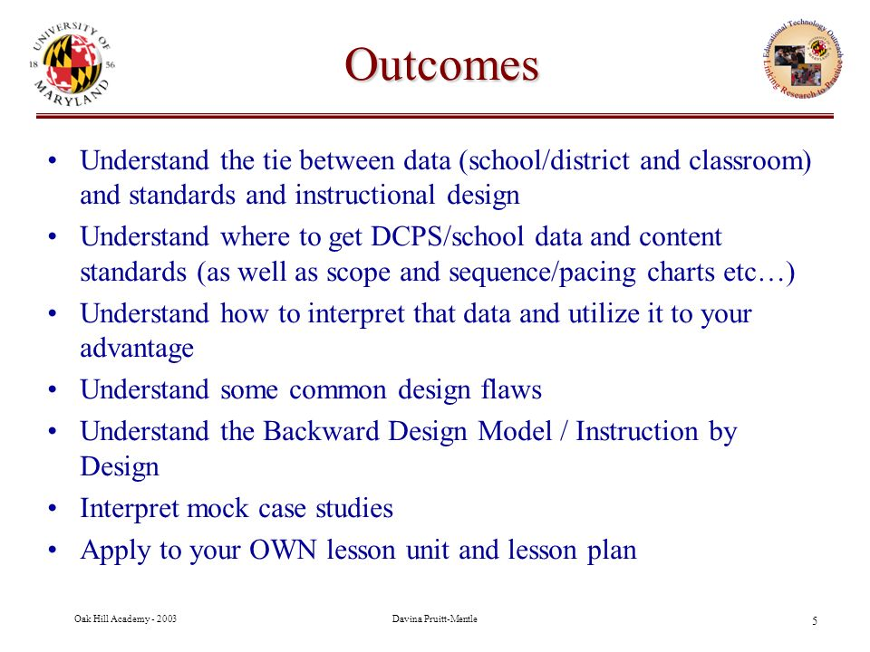 Classroom Oriented Instructional Design Models ~ Oak hill academy district of columbia public schools ppt