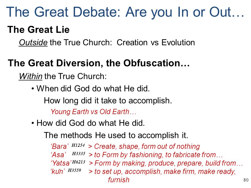 Generalities 1 1 In the beginning Tom developed a study on God's ...